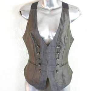 Bebe Women's Dove Grey Vest S Button Fitted